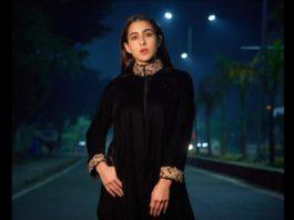 Sara Ali Khan in a black ensemble by Powder Pink