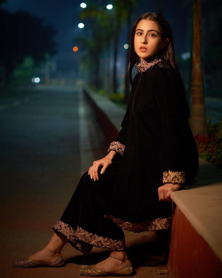 Sara Ali Khan in a black ensemble by Powder Pink1