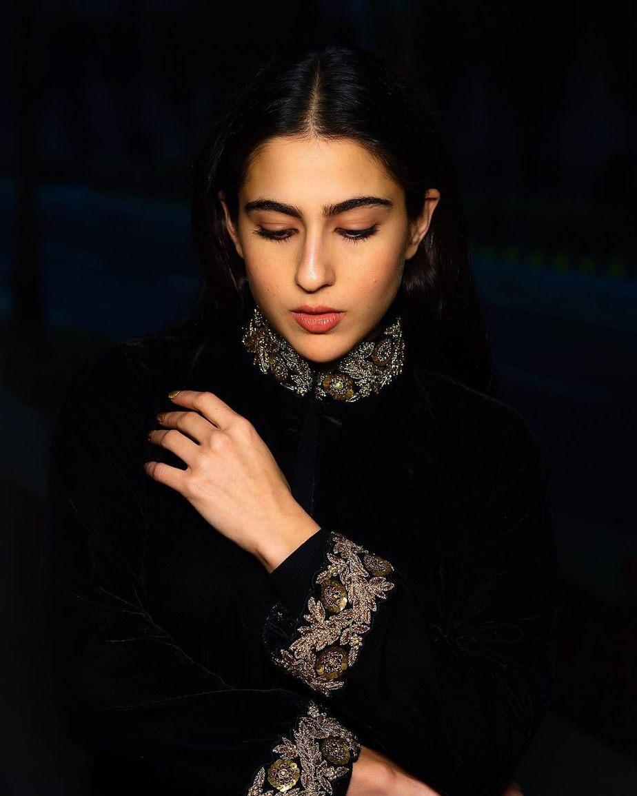 Sara Ali Khan in a black ensemble by Powder Pink2