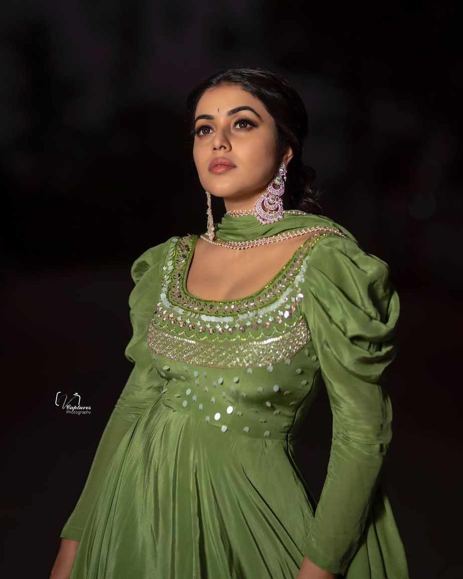 Shamna Kasim in olive green anarkali by atelier stores 1for dhee kings 4