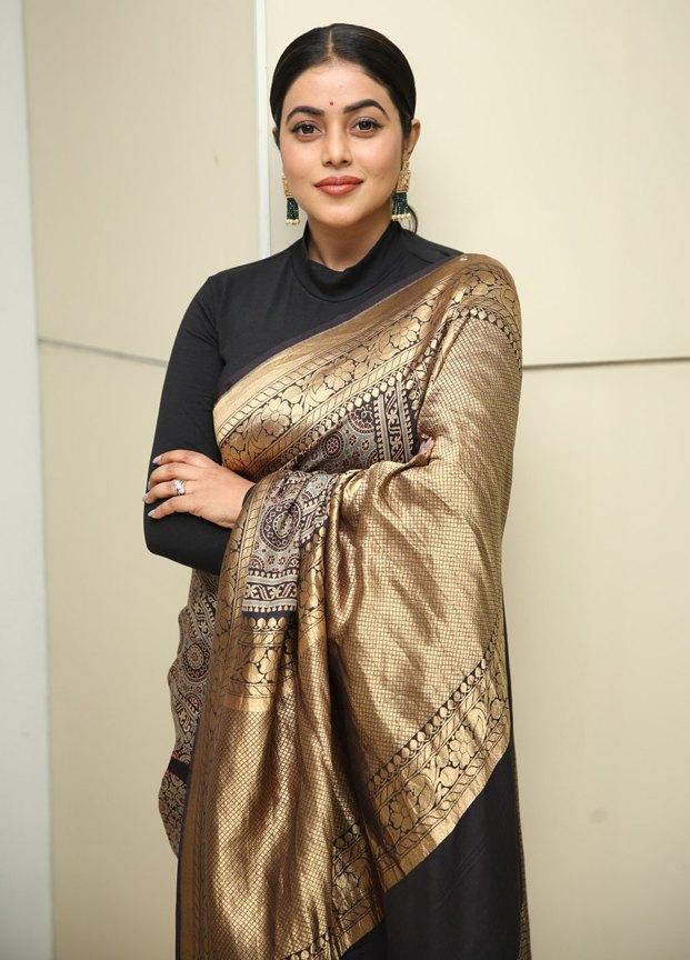 Shamna kasim in black and gold silk saree at sundari trailer launch