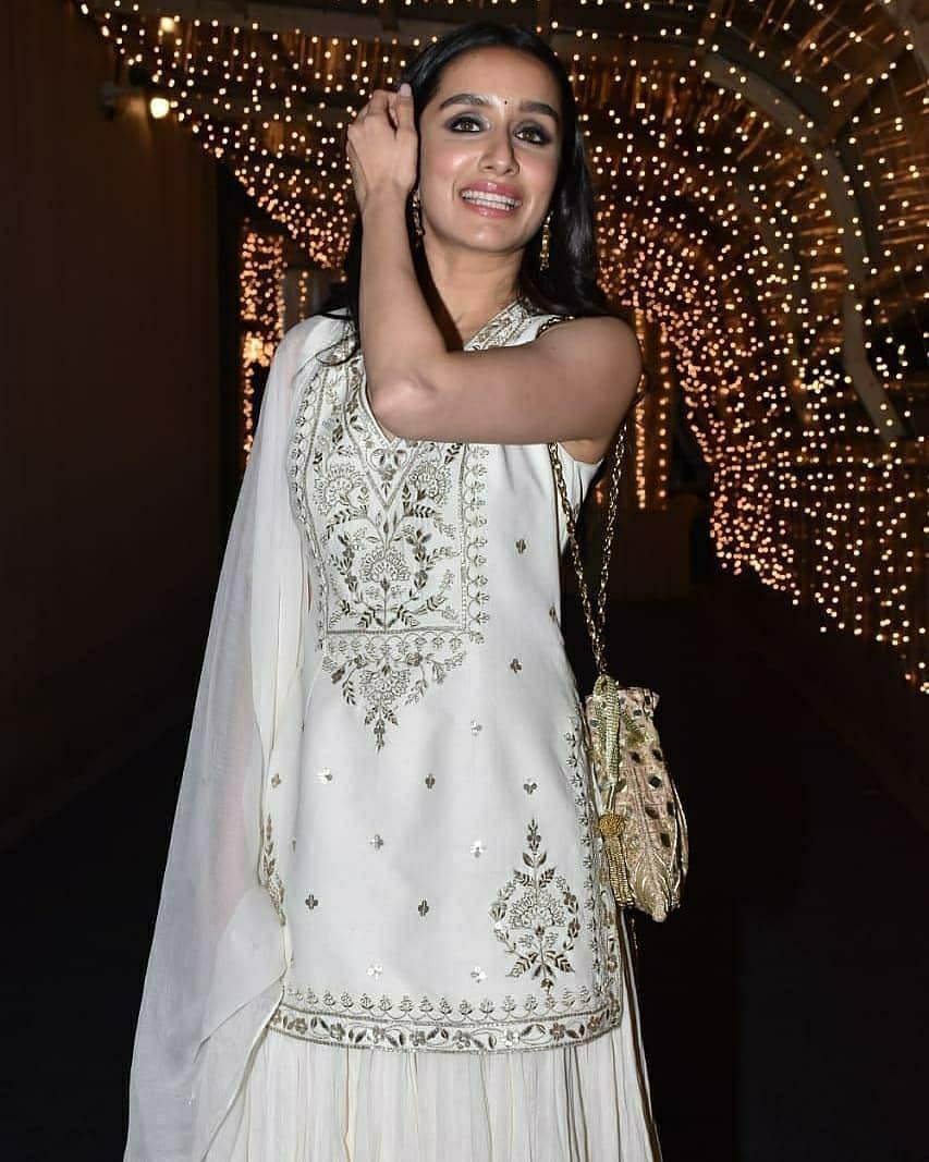 Shraddha Kapoor in ivory lehenga set by Anita Dongre fro cousin's wedding4