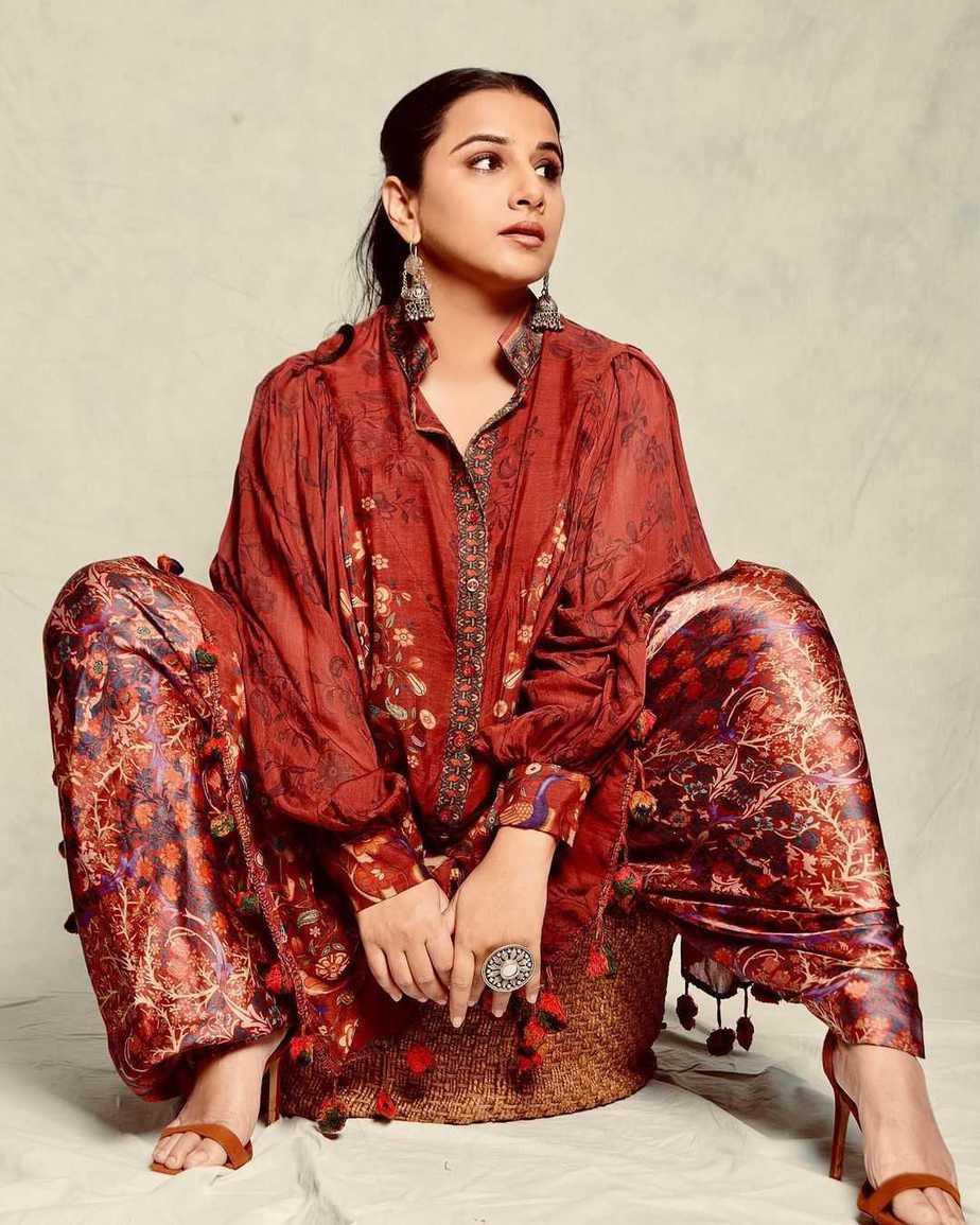Vidya Balan in a red brown outfit by Neeta Lulla