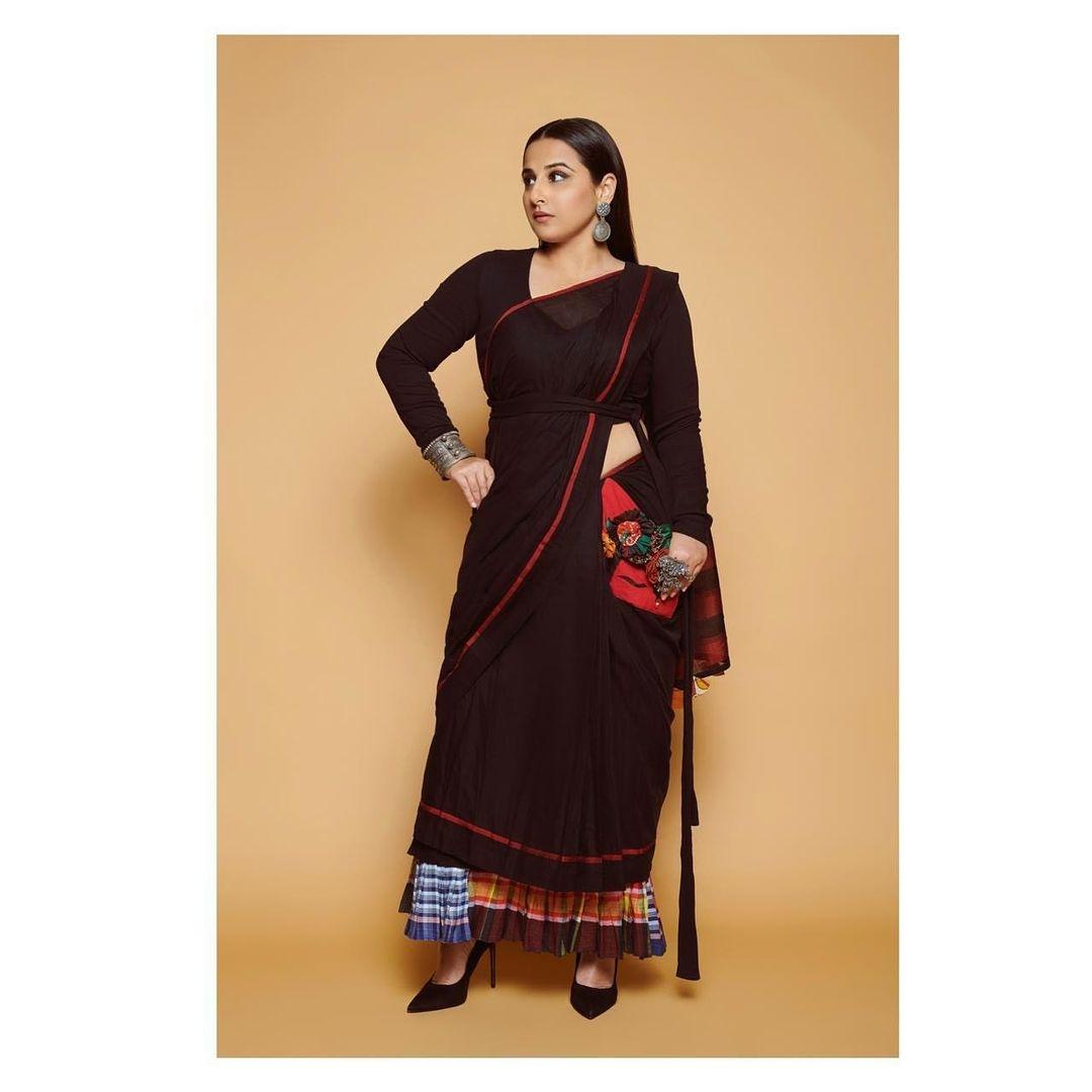 Vidya balan in a black nandidimps saree