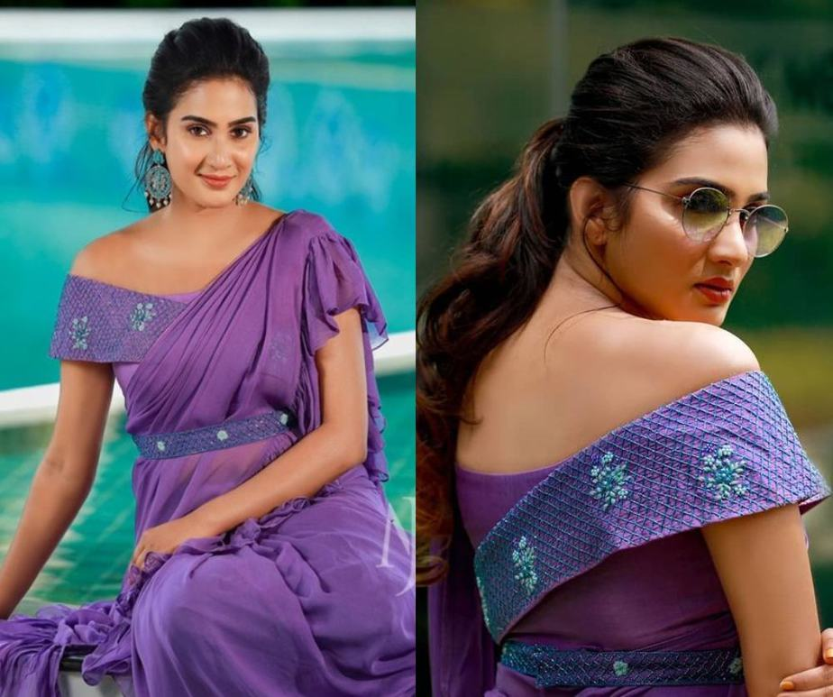 aditi ravi in a lavender ruffled saree with an offshoulder blouse