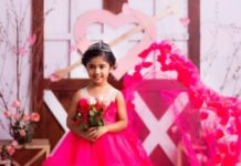allu arha in cute pink long dress for valentine's day