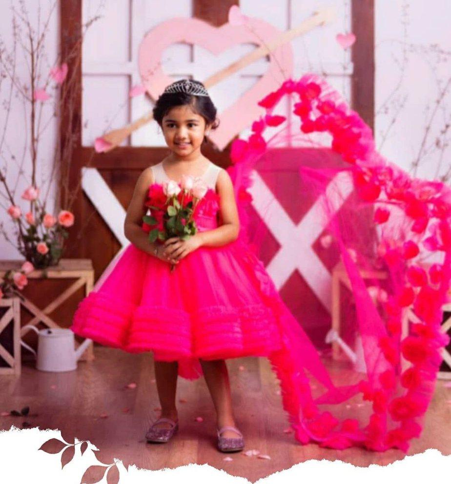 allu arha in cute pink long dress for valentine's day