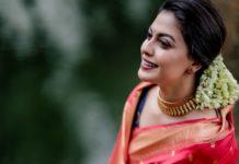 anusree in a red pattu saree1