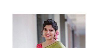 aparna Balamurali in olive green pattu saree by Margazhi designs for friend's wedding