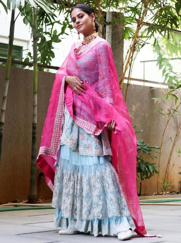 bindu madhavi in a blue sharara set with pink dupatta