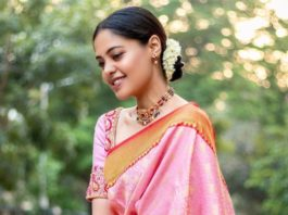 bindu madhavi in a pink silk saree with red borders
