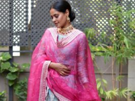 bindu madhavi in a sharara set for friend's wedding