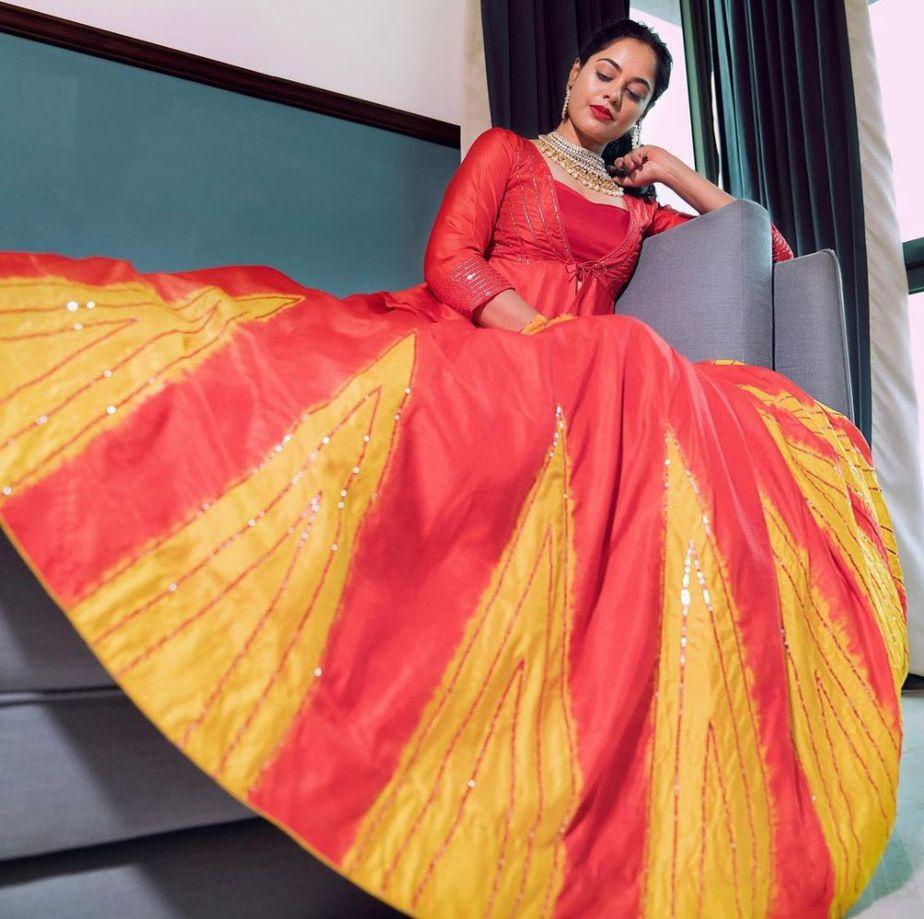bindu madhavi in red and yellow lehenga skirt