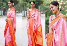bindu madhavi in soft pink silk saree for friends wedding
