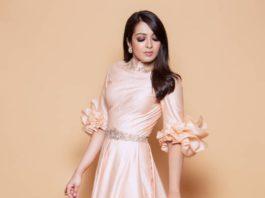 catherine tresa long golden dress by shantanu and nikhil