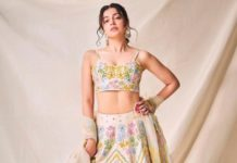 divya khosla kumar in a multi-colored floral lehenga