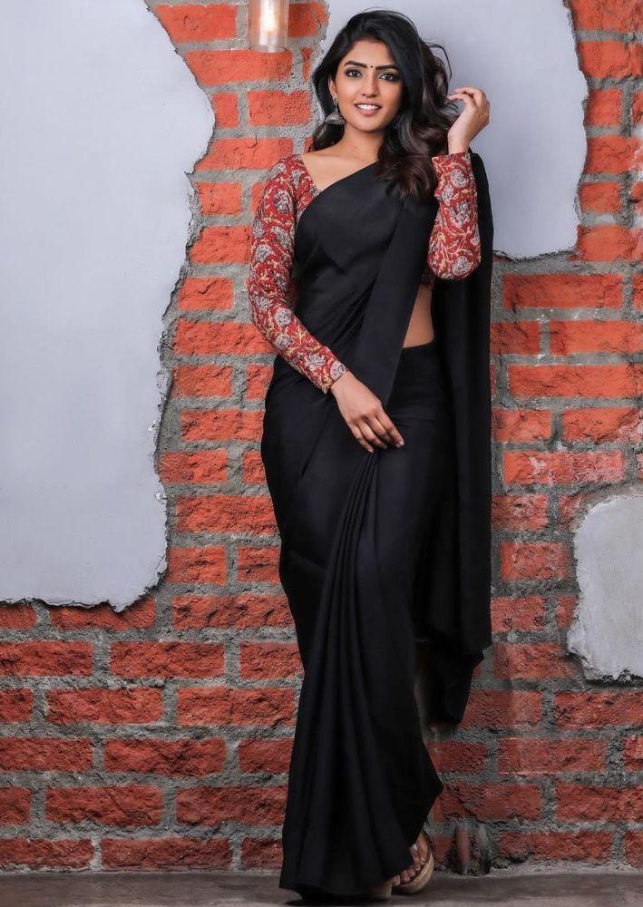 eesha rebba in black solid saree
