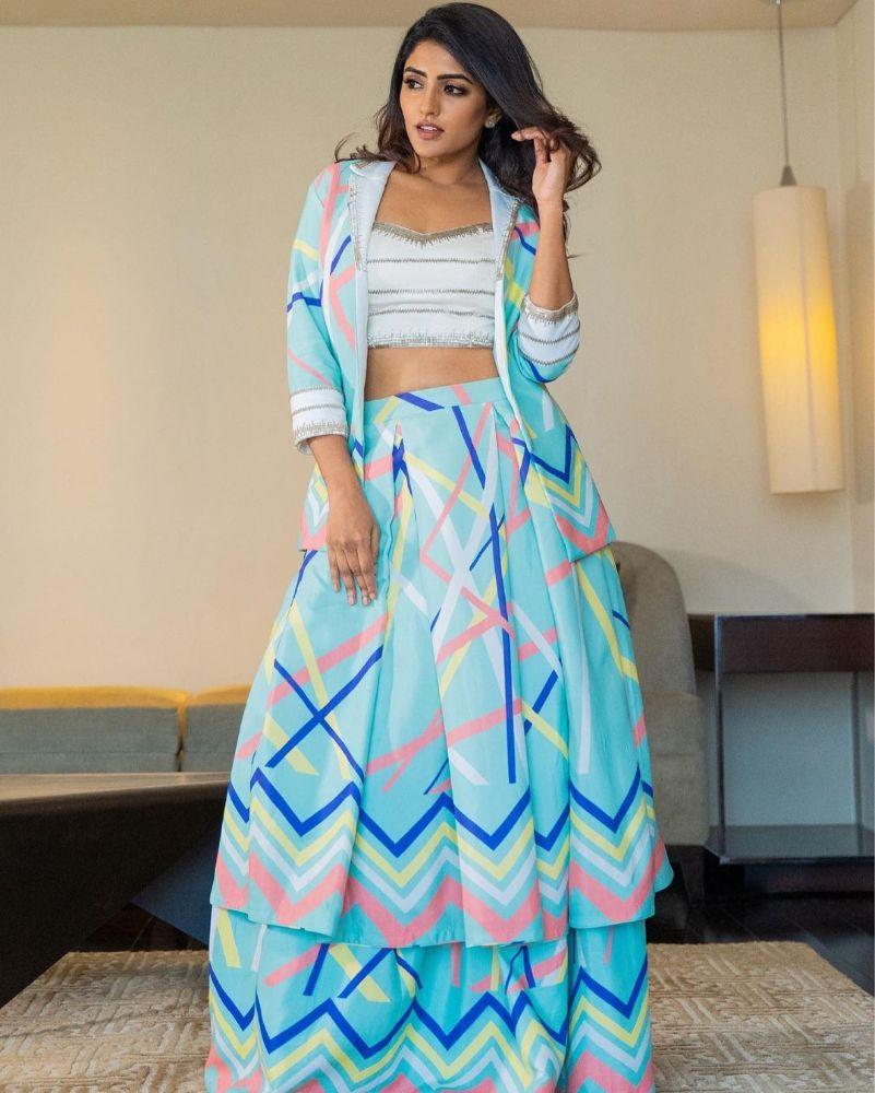 eesha rebba in printed skirt and jacket look