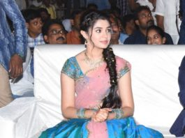 krithi shetty in blue lehenga at uppena blockbuster celebration event