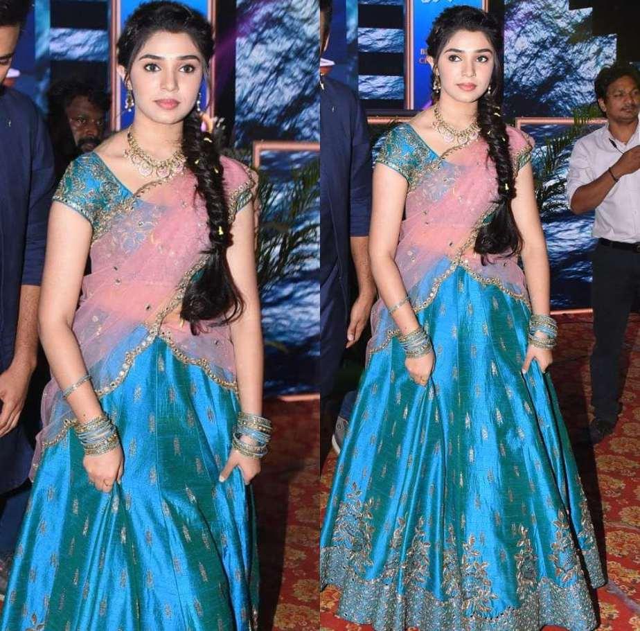 krithi shetty in blue lehenga at uppena blockbuster celebrations