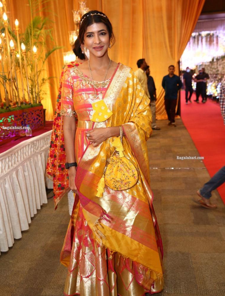 lakshmi manchu in a gold anarkali dress
