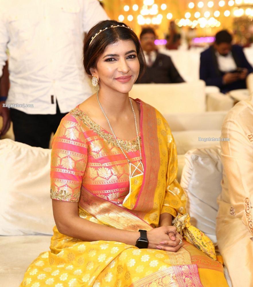 lakshmi manchu in pink and yellow gold anarkali