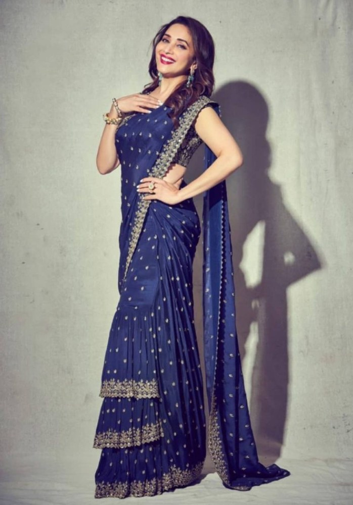 madhuri dixit in blue saree with gold embroidery