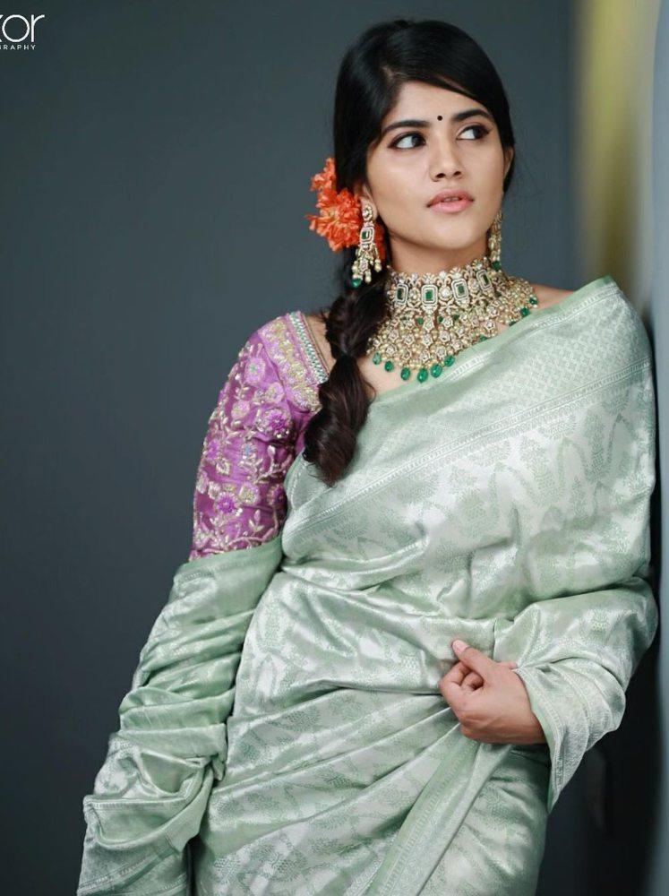 megha akash in a silver saree 80s style from kaali by vaishali agarwal