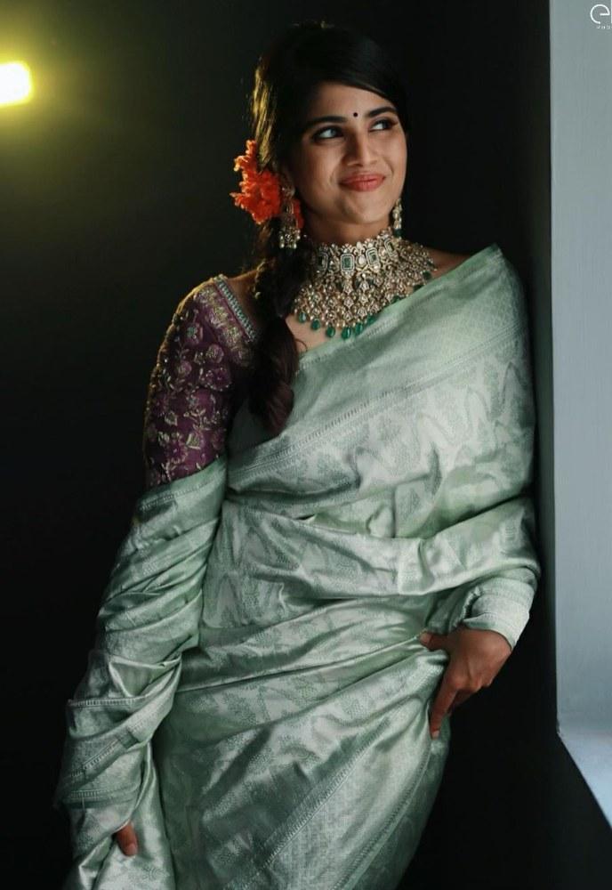 megha akash in silver silk saree retro look