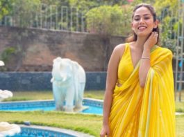 mira rajput in a yellow saree for friend's wedding