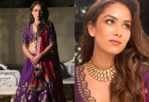 mira rajput in purple lehenga for friend's wedding