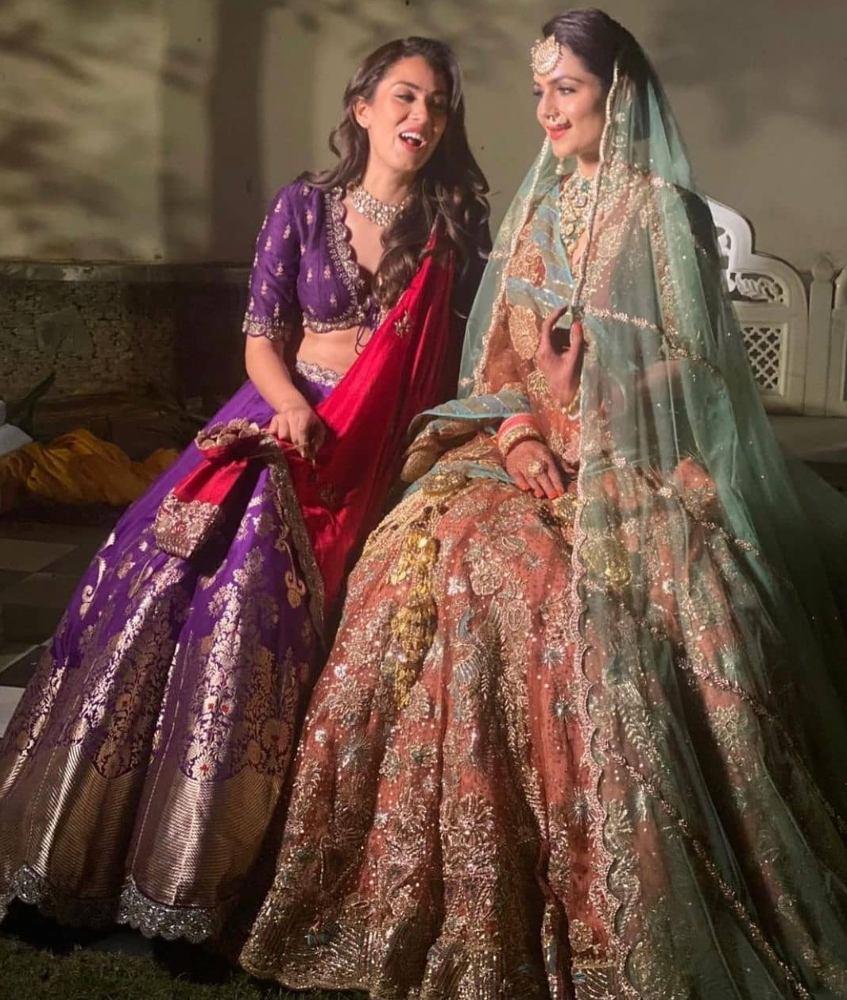 mira rajput kapoor at friends wedding in purple lehenga