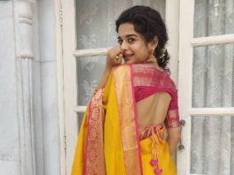 mithila palkar in yellow pink silk saree