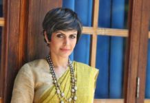 mandira bedi in olive green anavila saree