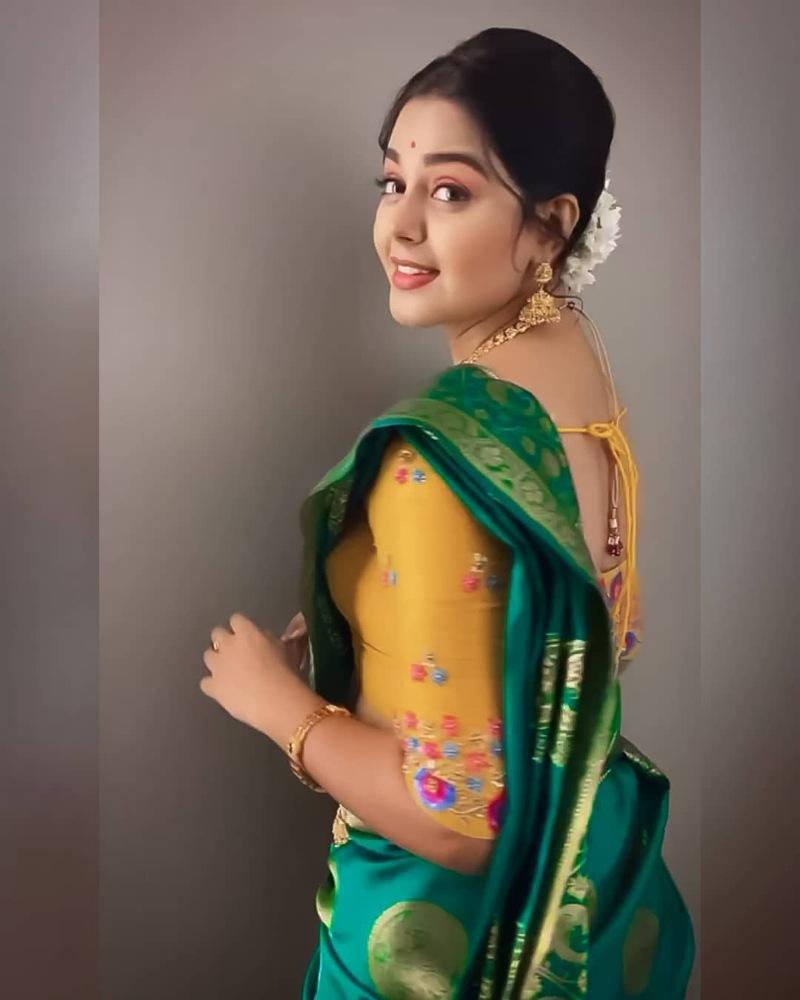 monal gajjar green silk saree ethnic look