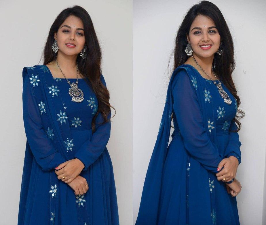 monal gajjar in a blue anarkali at movie first look launch press meet