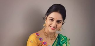 monal gajjar in a green silk traditional saree