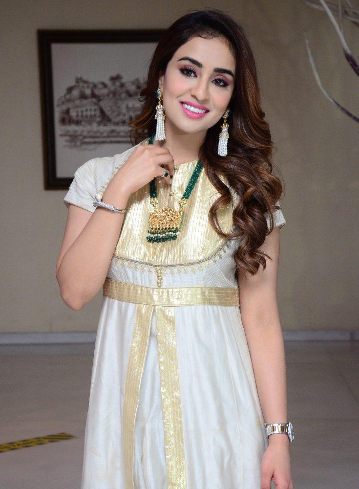 musskan sethi for Radha Krishna Movie Interview white anarkali churidar