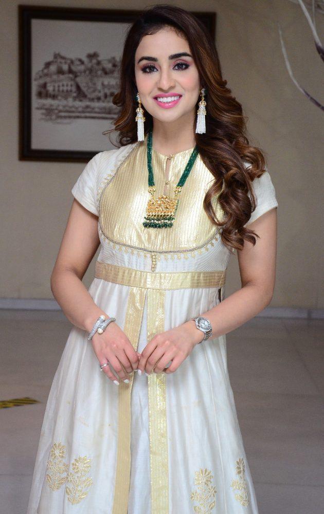 musskan sethi for Radha Krishna Movie Interview white churidar