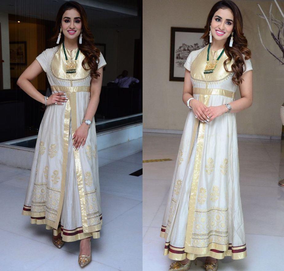 musskan sethi in white and gold anarkali dress for radhakrishna interview
