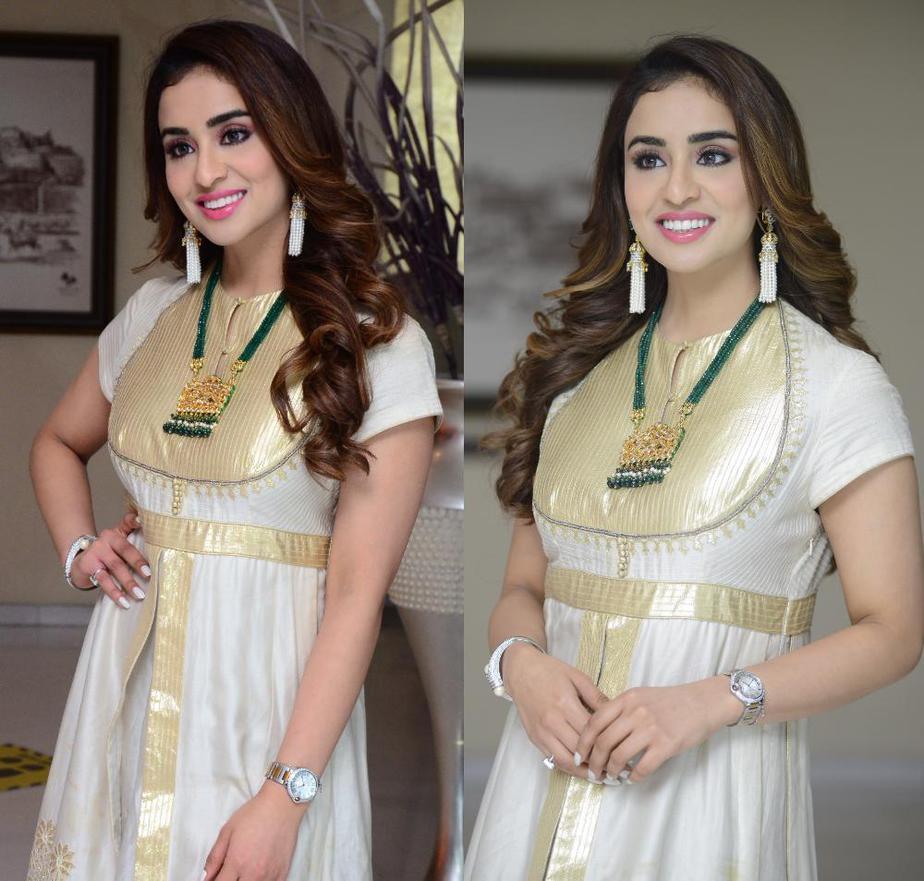 musskan sethi in white and gold anarkali for radhakrishna interview