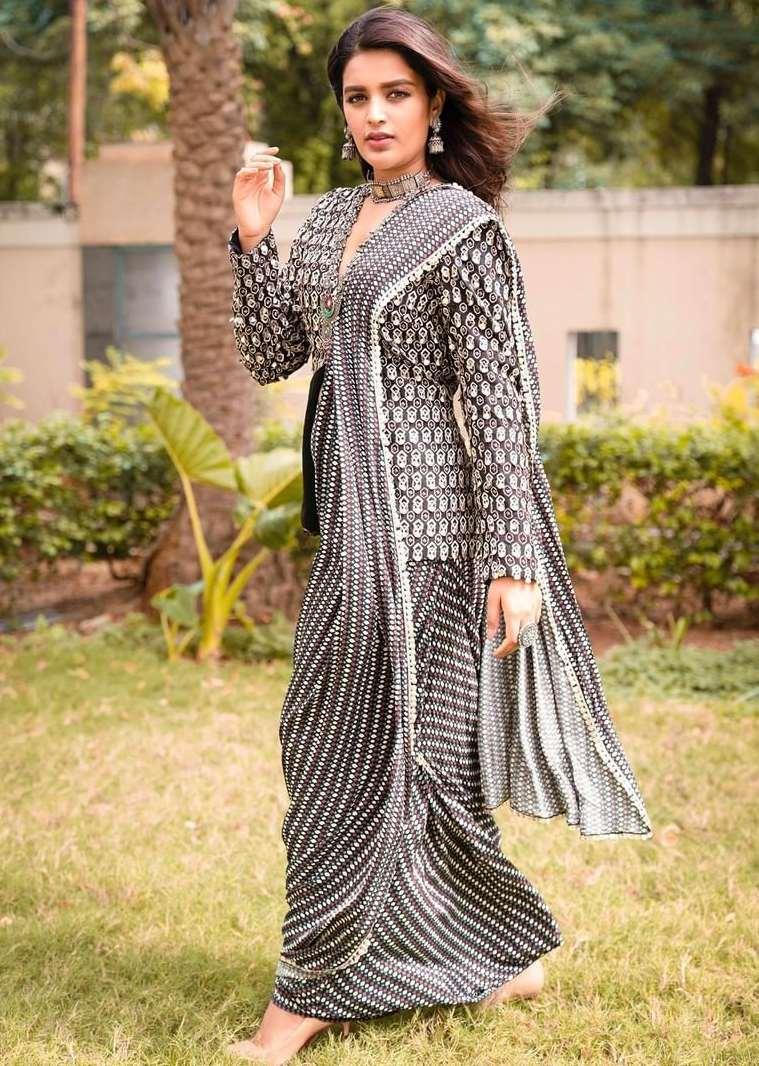 nidhhi agerwal black and white dhoti pants saree