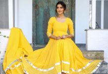 payal rajput in yellow flared anarkali