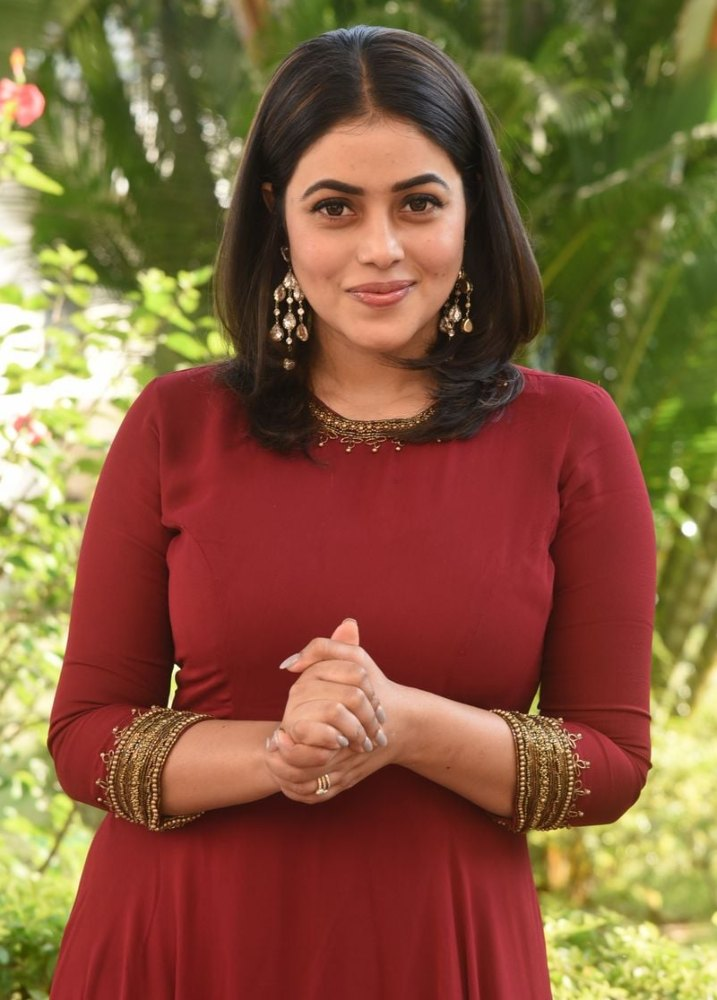 poorna at power movie trailer launch in brown dress