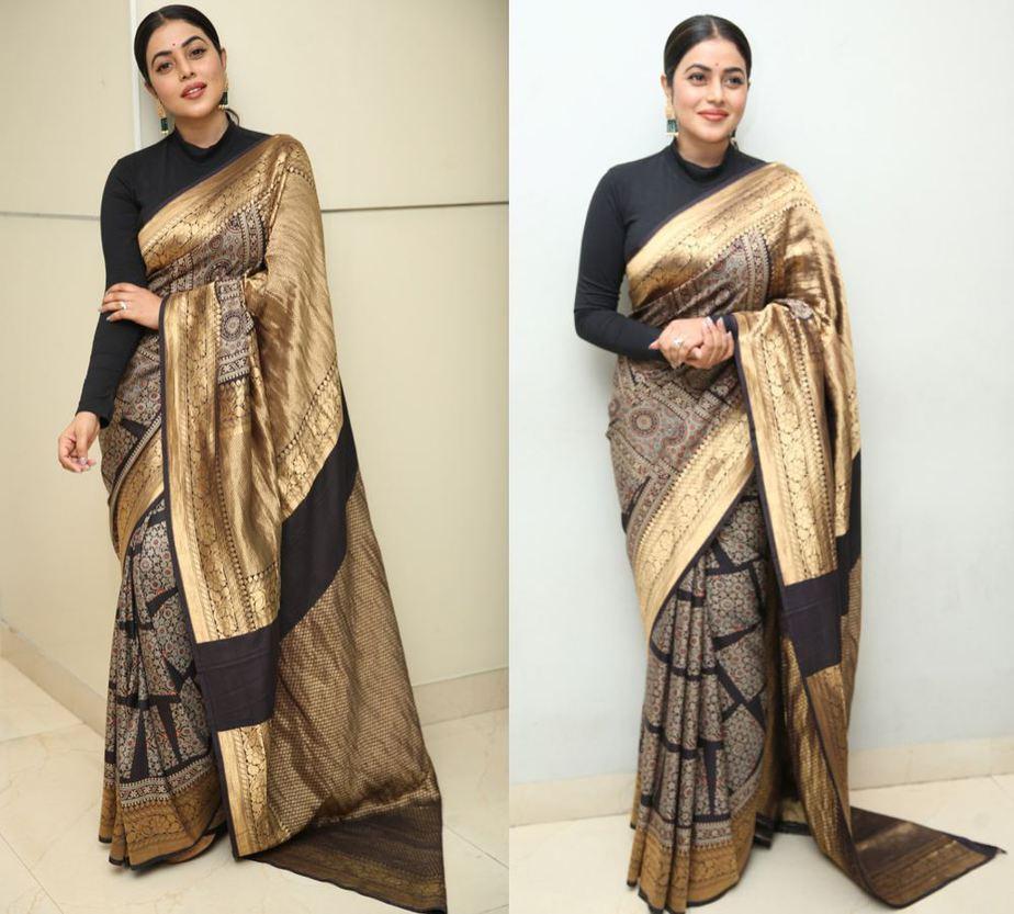 poorna in a black and gold silk saree at sundari trailer launch