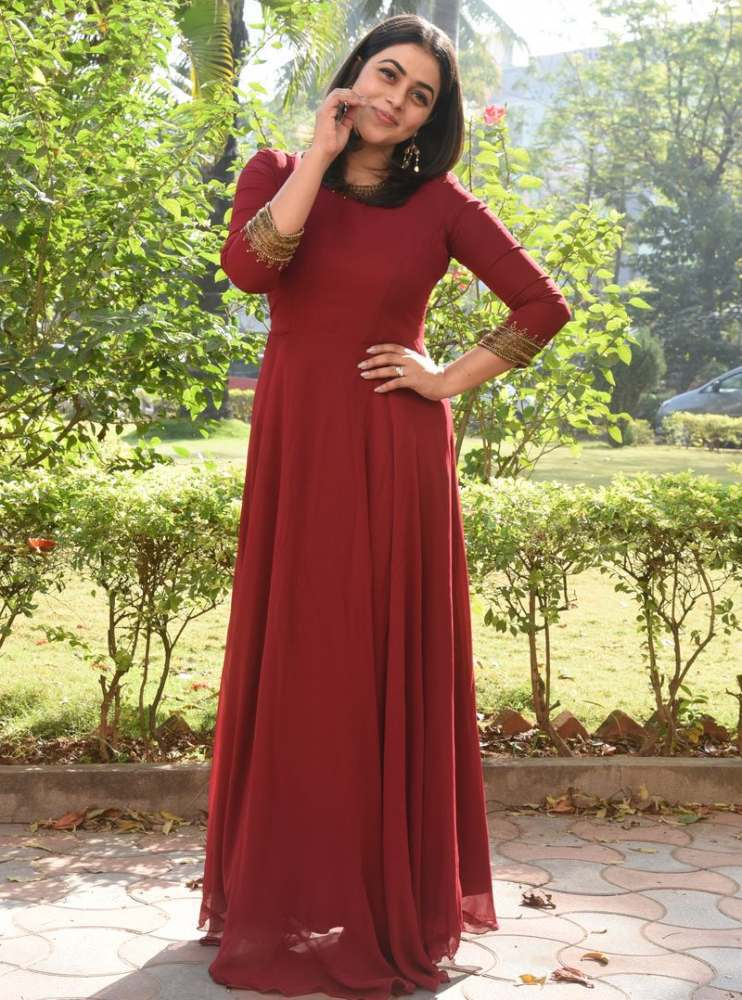 poorna in maroon dress at power play trailer launch