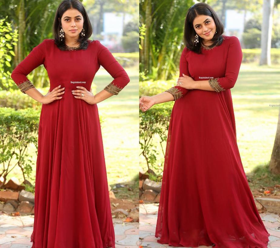 poorna in maroon full length anarkali dress