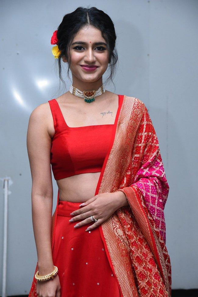 pri1ya prakash varrier at check movie prerelease in red lehenga