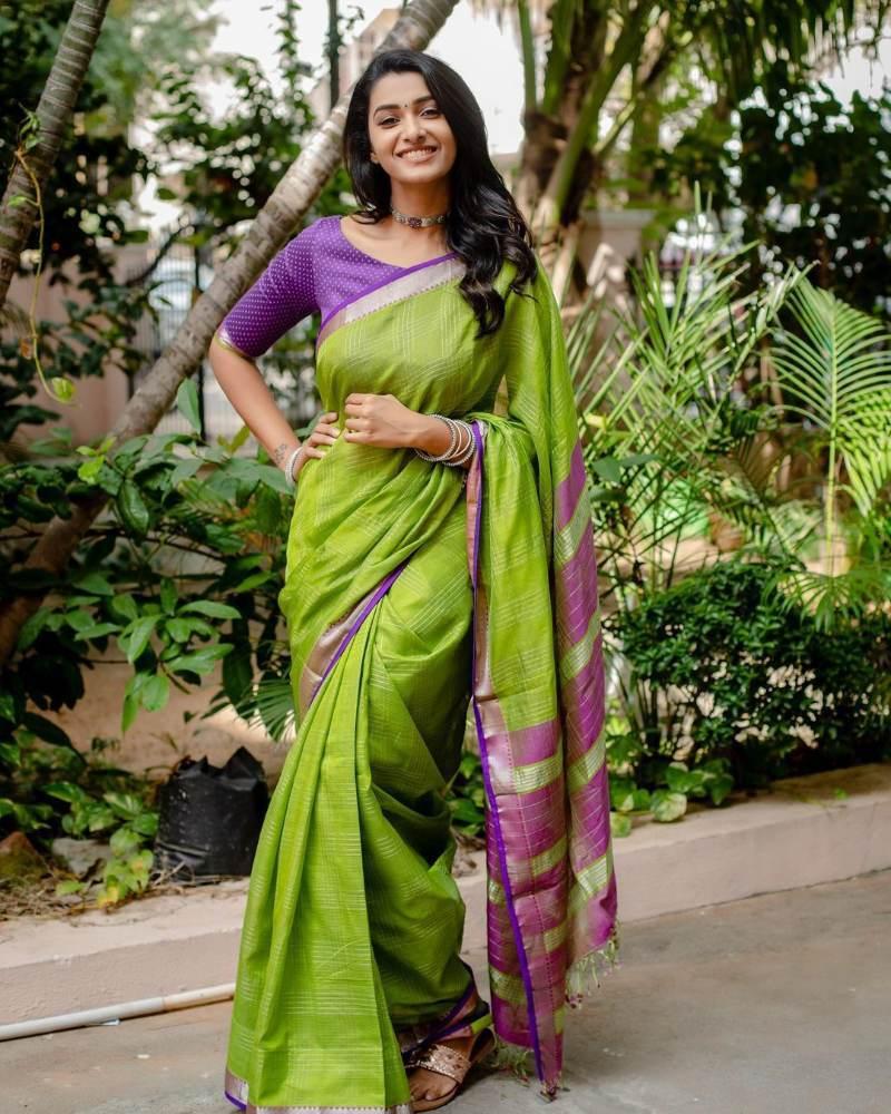 priya bhavani shankar green purple saree