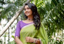 priya bhavani shankar in a parrot green purple silk saree